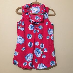 Pink and blue floral Mud Pie Blouse Size Small